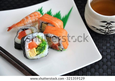 sushi japanese food with hot tea