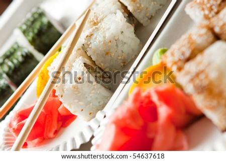 Sushi lunch with salmon - stock photo