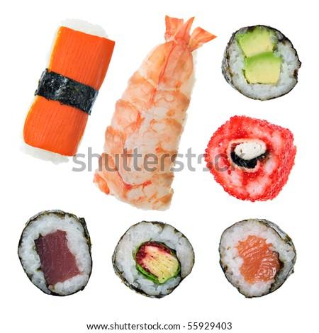 Sushi maki and roll - stock photo