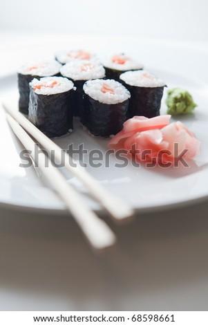 sushi maki (color toned image; shallow DOF) - stock photo