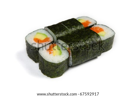 Sushi maki  isolated and a white background - stock photo
