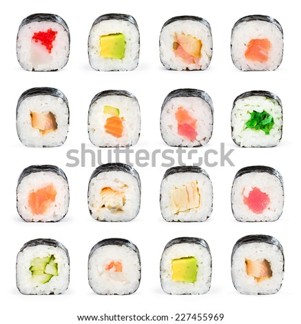 Sushi maki isolated on white background for menu