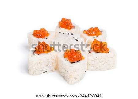 Sushi maki on white background