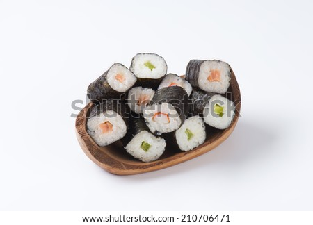 Sushi maki rolls with salmon and avocado