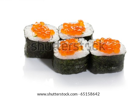 Sushi maki with  red caviar on white ground