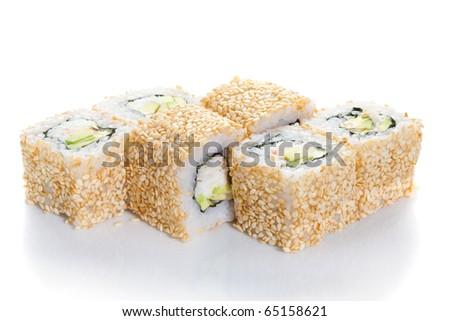 Sushi maki  with sesame on white ground - stock photo