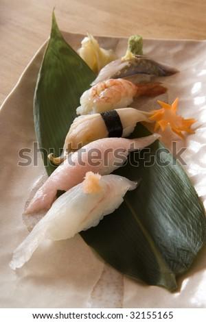 Sushi on a Banana Leaf - stock photo