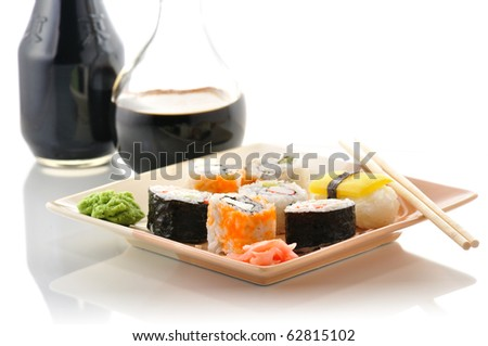 sushi on a  dish close up - stock photo