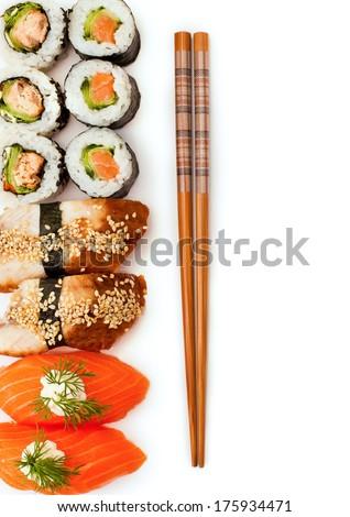 Sushi on a white background - stock photo