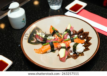sushi on the plate - stock photo