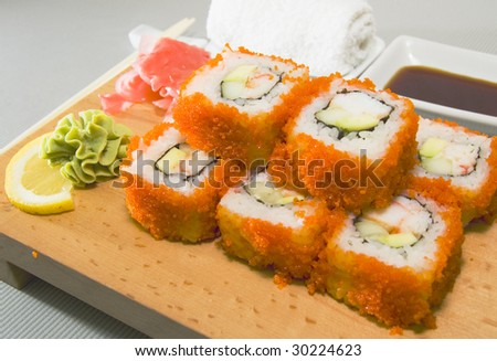 sushi on the wood plate - stock photo