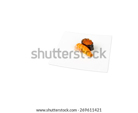 Sushi on white background - stock photo