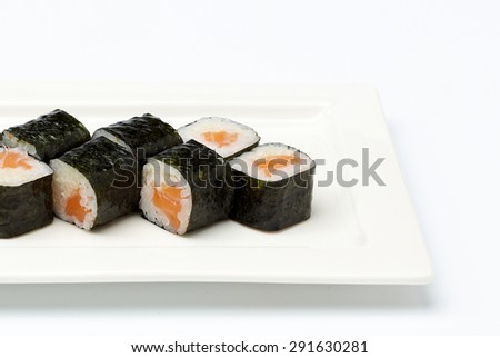 Sushi on white plate. Isolated on white background. - stock photo