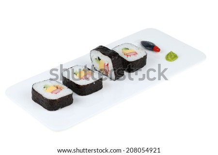 Sushi pieces collection isolated on white background  - stock photo