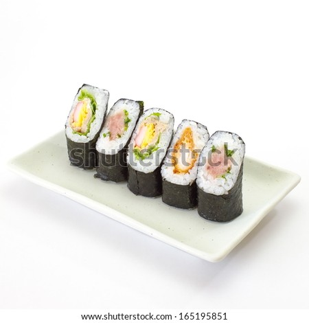 Sushi pieces collection, japanese seafood