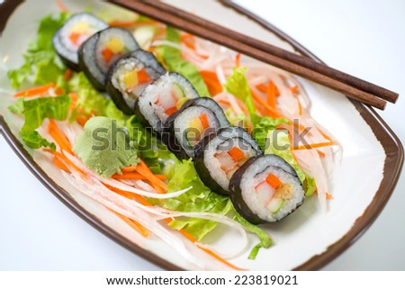 Sushi pieces collection,on white background,d800 - stock photo