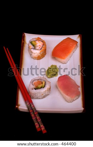 Sushi plate and chopsticks - stock photo