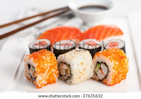 Sushi plate, close-up - stock photo