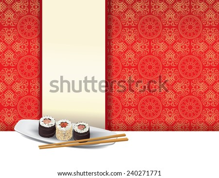 Sushi plate on red background with menu label
