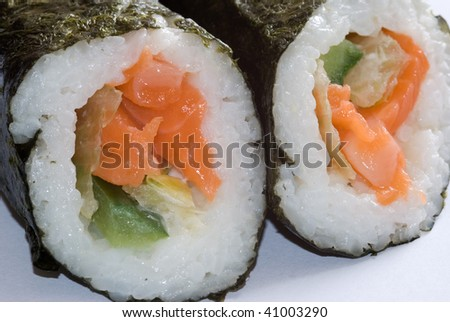 Sushi portions on white background