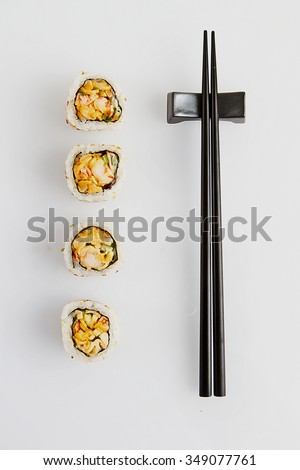 sushi roll, chopstick top view - stock photo