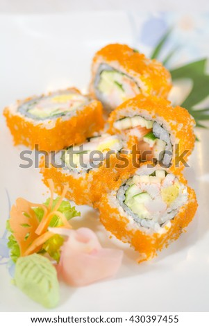 Sushi roll delicious Japanese food menu, - stock photo