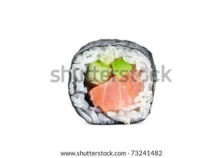 sushi roll isolated on white - stock photo