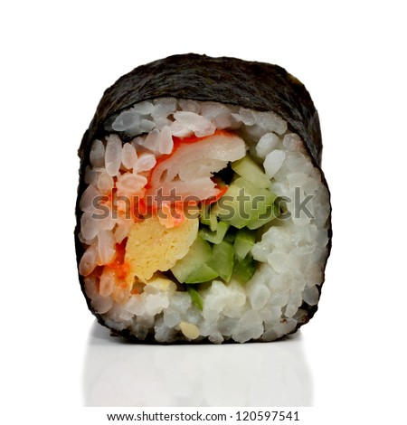 Sushi roll isolated on white background - stock photo
