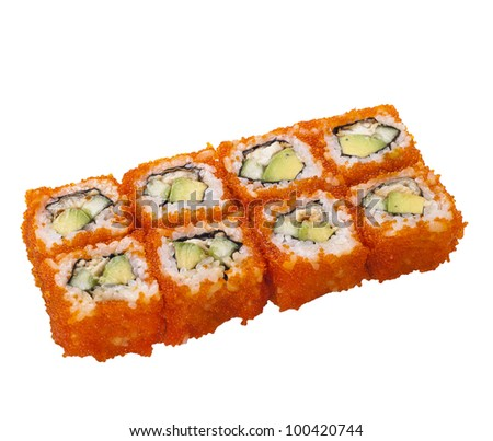 sushi roll isolated on white with caviar