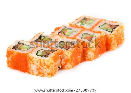 Sushi Roll - Maki Sushi California with Cucumber, Tamago, Salmon Roe, Tobiko and Cream Cheese inside, isolated on white background - stock photo
