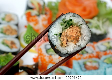 Sushi roll on a bright background - stock photo