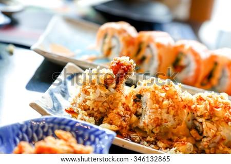 Sushi roll tempura shrimp - stock photo
