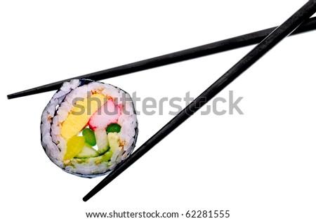 Sushi roll with black chopsticks isolated on white background - stock photo