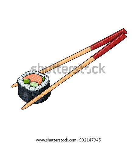 Sushi roll with chopsticks illustration
