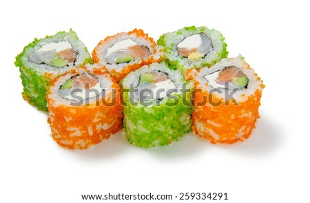 sushi roll with green and orange caviar