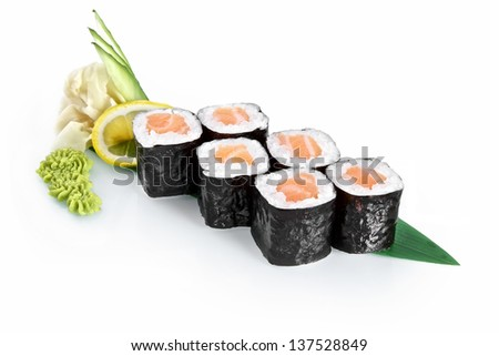 Sushi Roll with salmon with delicious ingredients isolated on white background