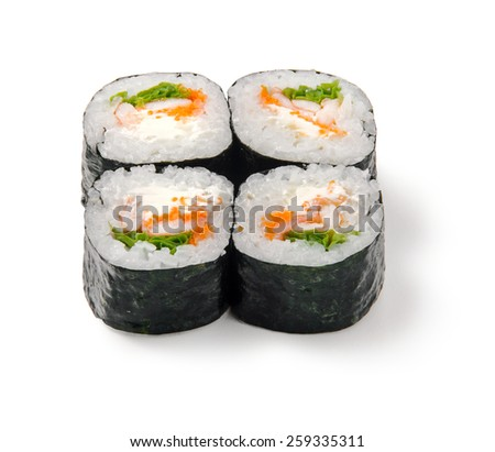 Sushi roll with shrimps