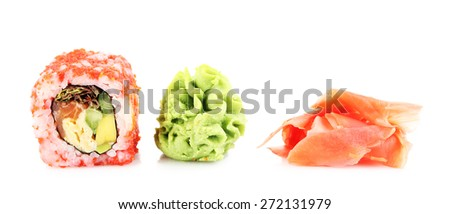 Sushi roll with wasabi and ginger isolated on white - stock photo