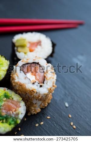 Sushi rolls close up - stock photo