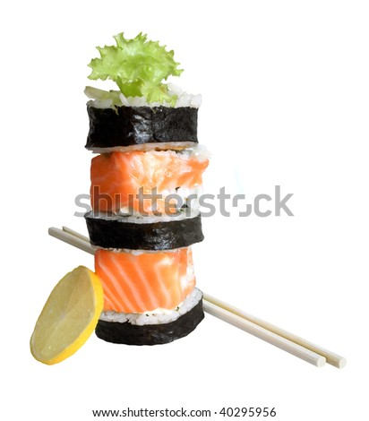 Sushi rolls isolated on the white background - stock photo