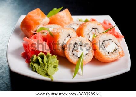 Sushi rolls philadelphia - stock photo