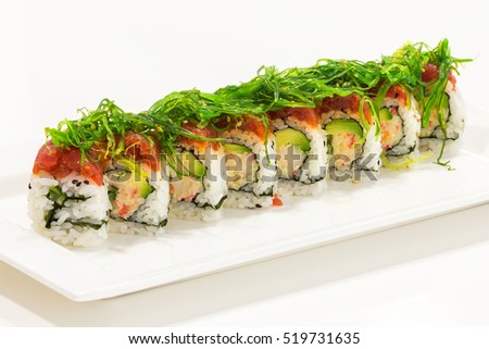 Sushi rolls plated