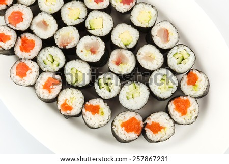 Sushi rolls set  on white backgraund