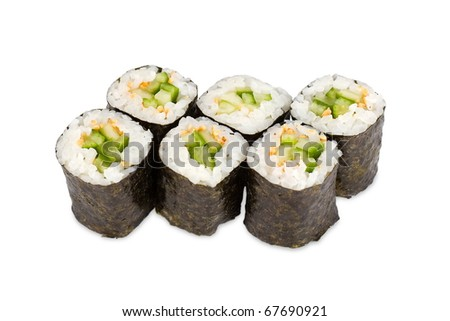 sushi rolls with cucumbers and sesame seed - stock photo