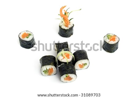 sushi rolls with salmon and cucumber are isolated on the white background - stock photo