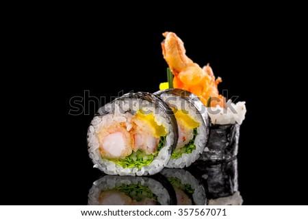 sushi rolls with shrimp - stock photo