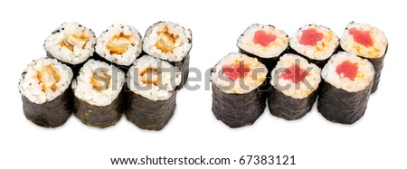 sushi rolls with tuna and spicy eel - stock photo