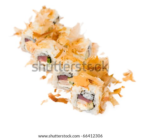 sushi rolls with tuna chips as beer snack - stock photo