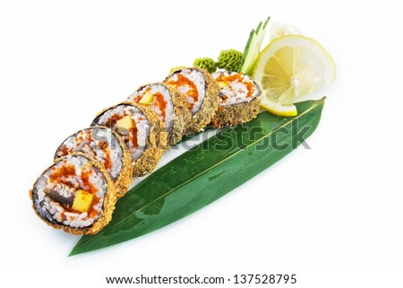 Sushi Ronin with delicious ingredients isolated on white background - stock photo