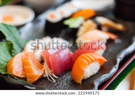 Sushi, sashimi - stock photo